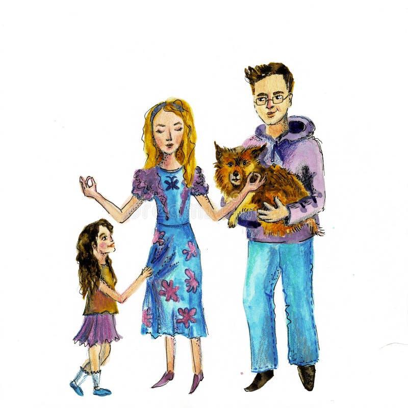 Illustration av en lycklig familj med en hund f?r flygillustration f?r n?bb dekorativ bild dess paper stycksvalavattenf?rg vektor illustrationer