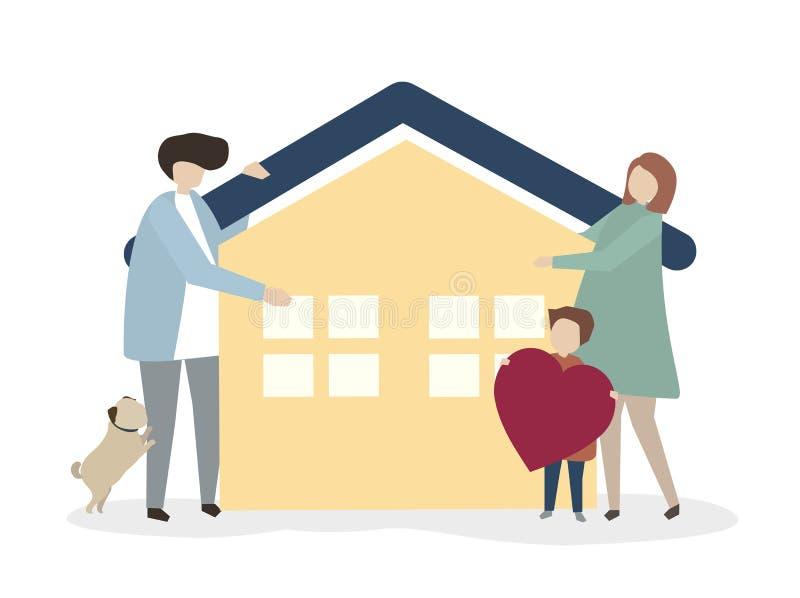 Illustration av en lycklig och sund familj vektor illustrationer