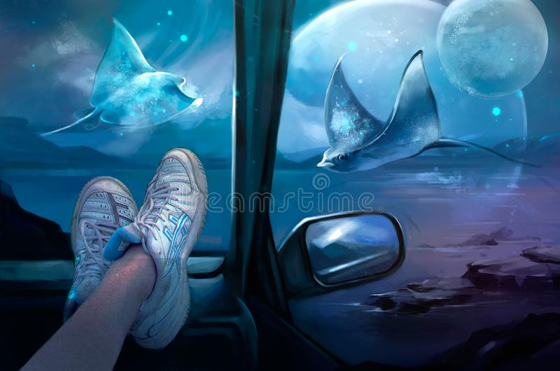 Illustration av en magisk sikt från bilen vektor illustrationer