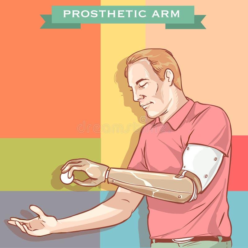 Illustration av en man som använder hans Prosthetic arm vektor illustrationer