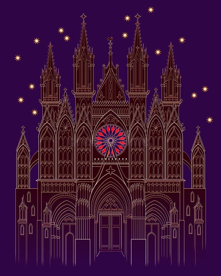 Illustration av en medeltida gotisk slott för fantasi på nattetid R?kning f?r ungesagabok Affisch f?r loppf?retag vektor illustrationer