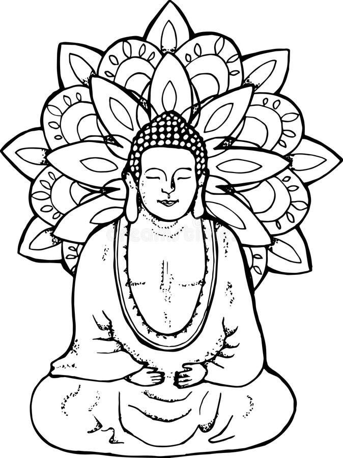 Illustration av en meditera mandala buddha Mandala i stilen av sentangle för grafittigata för konst färgrik räknad vägg stock illustrationer