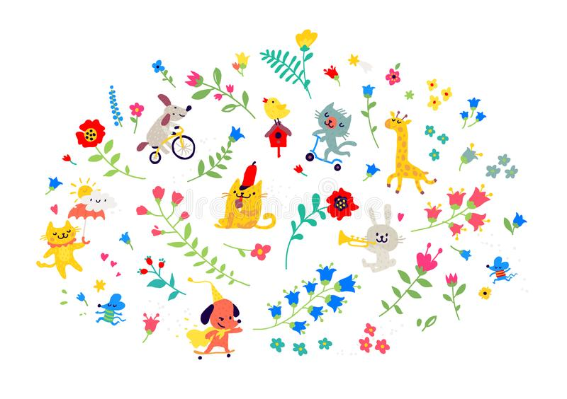 Illustration av en modell av blommor och roliga djur vektor Tecknad filmstil Blom- beståndsdelar för kort eller hälsningar Barn`  stock illustrationer