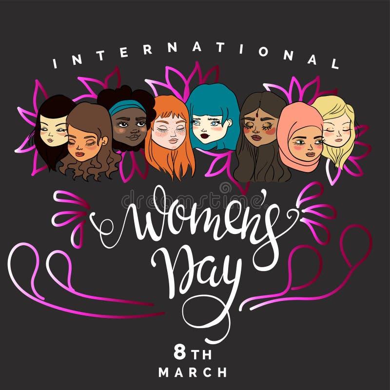 Illustration av en olik grupp av kvinnor vektor illustrationer