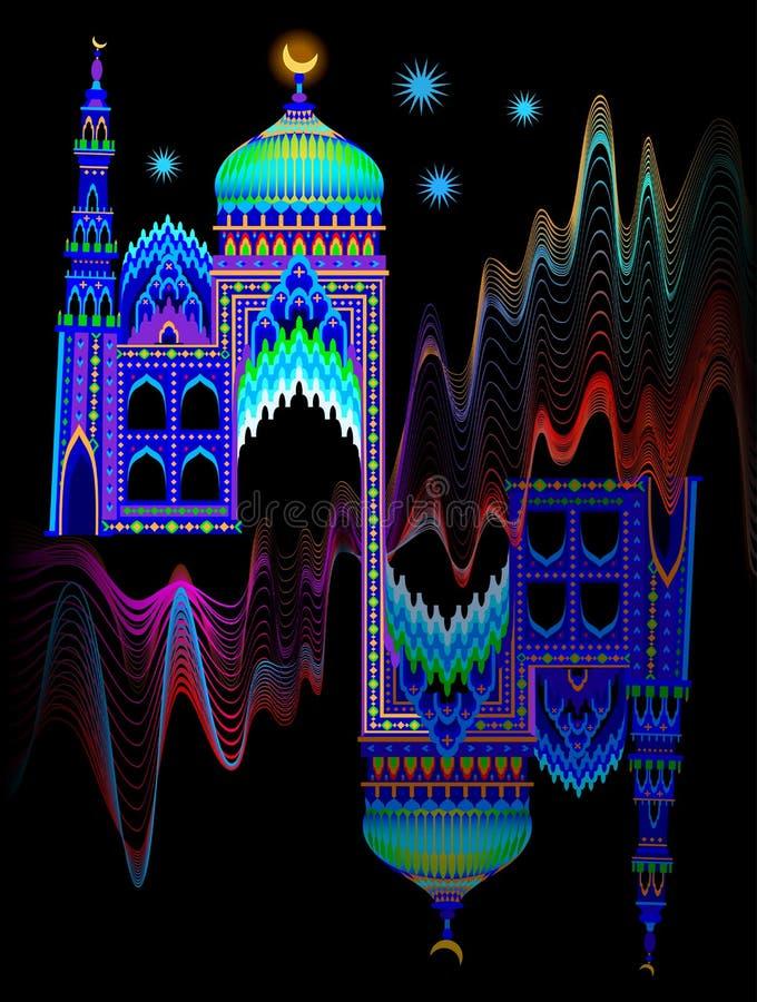 Illustration av en orientalisk slott för fantasi på nattetid R?kning f?r ungesagabok Affisch f?r loppf?retag vektor illustrationer