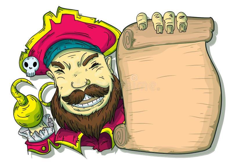 Illustration av en piratkopiera bredvid en snirkel vektor illustrationer