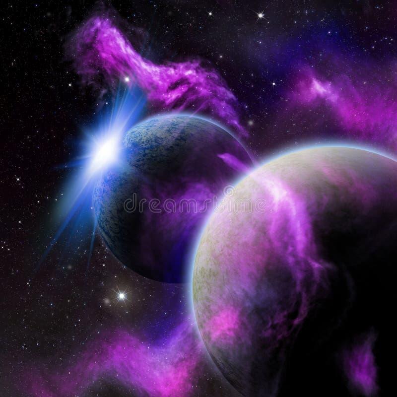 Illustration av en purpurfärgad och blå utrymmeplats med planeter royaltyfri illustrationer