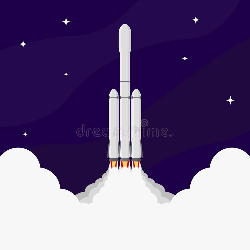 Illustration av en raket som tar av in i utrymme mot en stj stock illustrationer