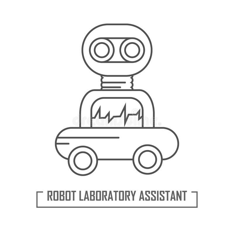 Illustration av en robotassistent i laboratoriumet stock illustrationer