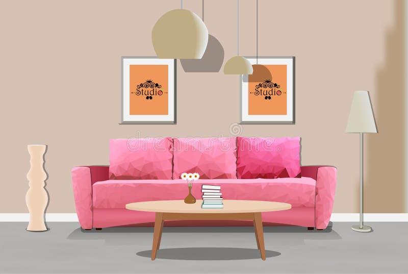 Illustration av en rosa soffa i inre Polygontriangel Inre av rummet med möblemang för vardagsrumsofa för vinkelformig matställe i stock illustrationer
