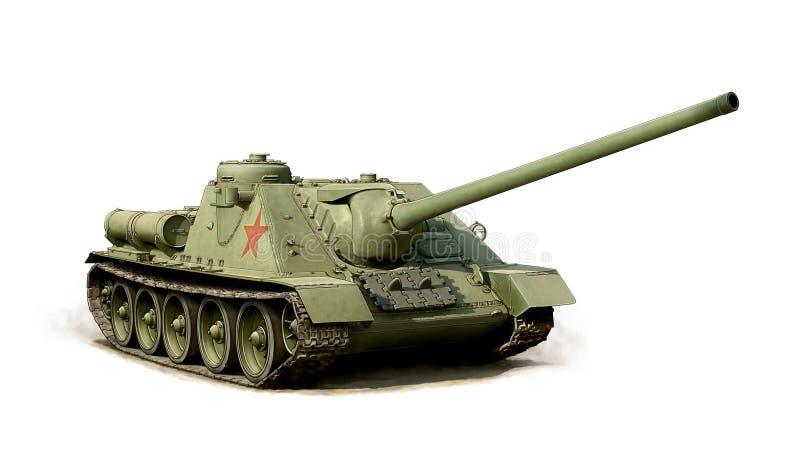 Illustration av en rysk jagare för behållare SU-100 royaltyfri illustrationer
