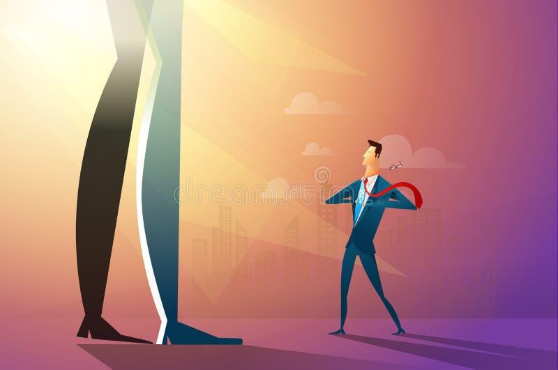 Illustration av en säker affärsman som river sönder hans skjorta och vänder in i en superherostridighet med det stora företaget p vektor illustrationer
