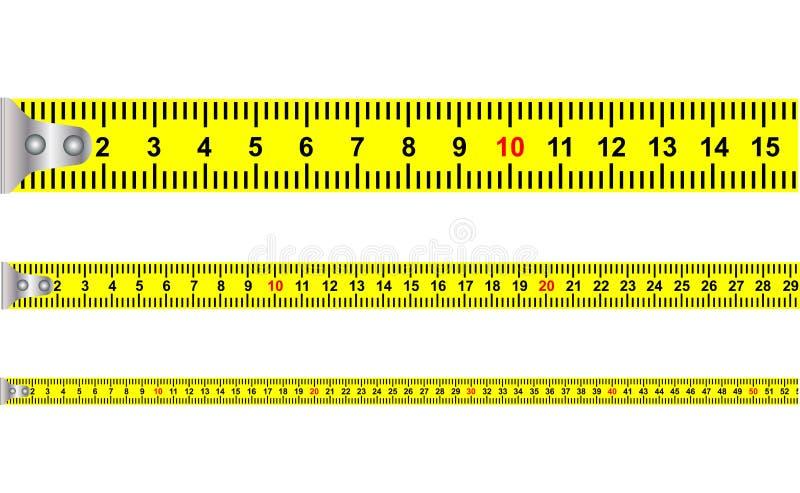 Illustration av en sömlös gul klassisk måttband hjälpmedel med meter och cm för murare och konstruktionsutrustning vektor illustrationer