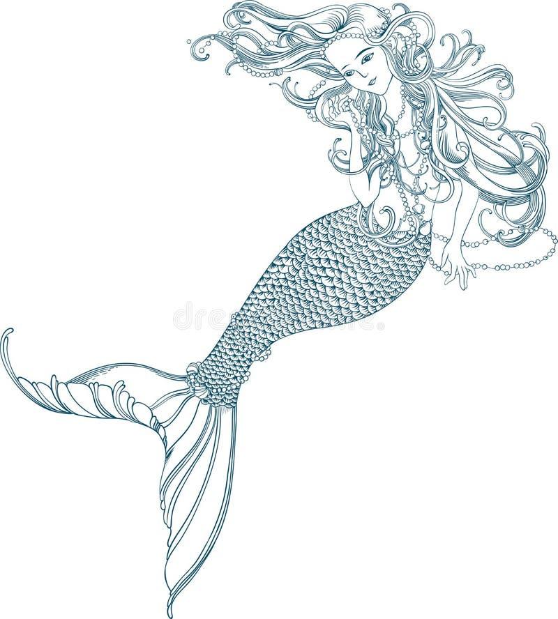 Illustration av en sjöjungfru med stora hår och pärlor i hennes händer royaltyfri illustrationer