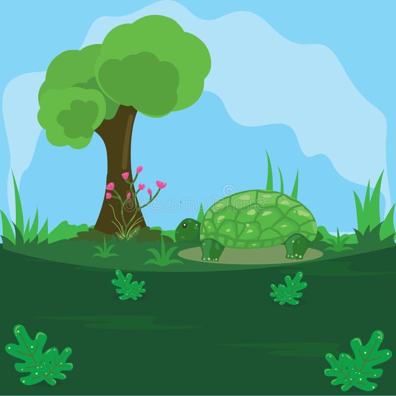 Illustration av en sköldpadda på ett grönt land med en bakgrund för blå himmel royaltyfri illustrationer
