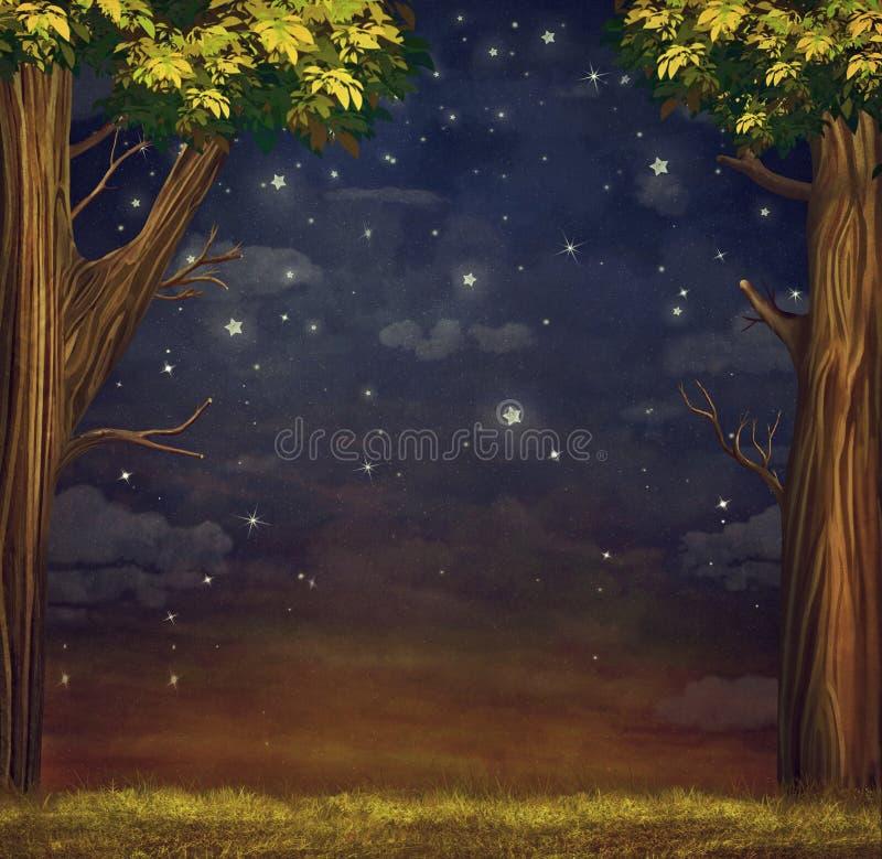 Illustration av en skog med stjärnor stock illustrationer