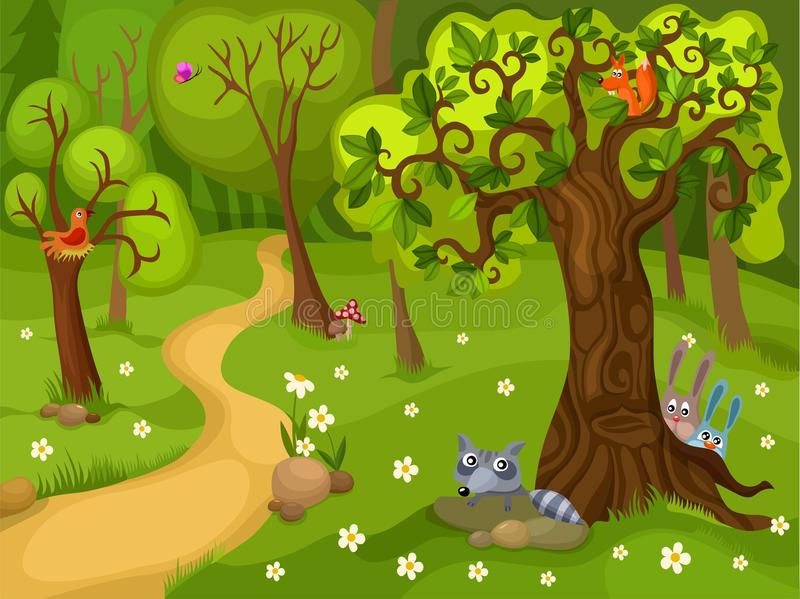 Illustration av en skogbakgrund stock illustrationer