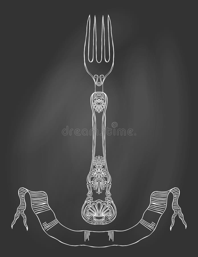 Illustration av en smyckad gaffel på den svart tavlan. vektor illustrationer