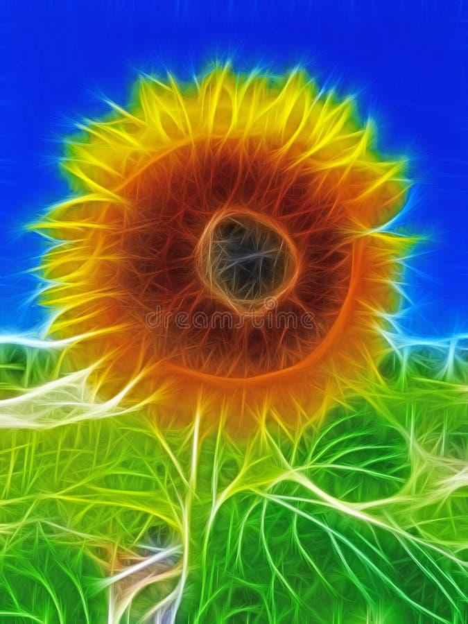 Illustration av en solros mot en blå himmel stock illustrationer