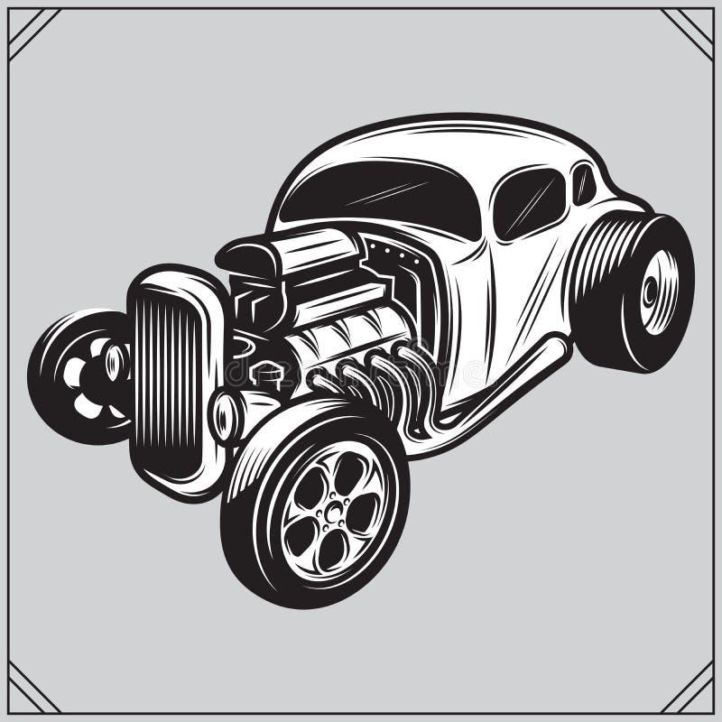 Illustration av en stilfull monokrom hotrod på en grå bakgrund stock illustrationer