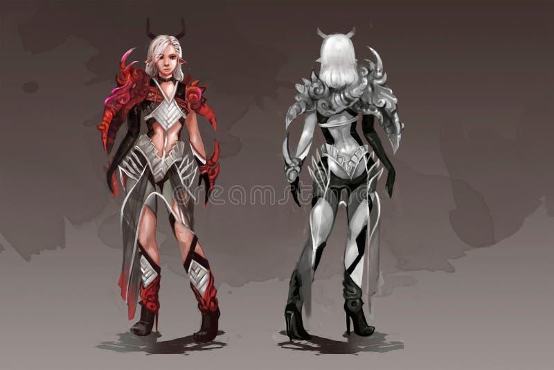 Illustration av en superheroflicka royaltyfri illustrationer