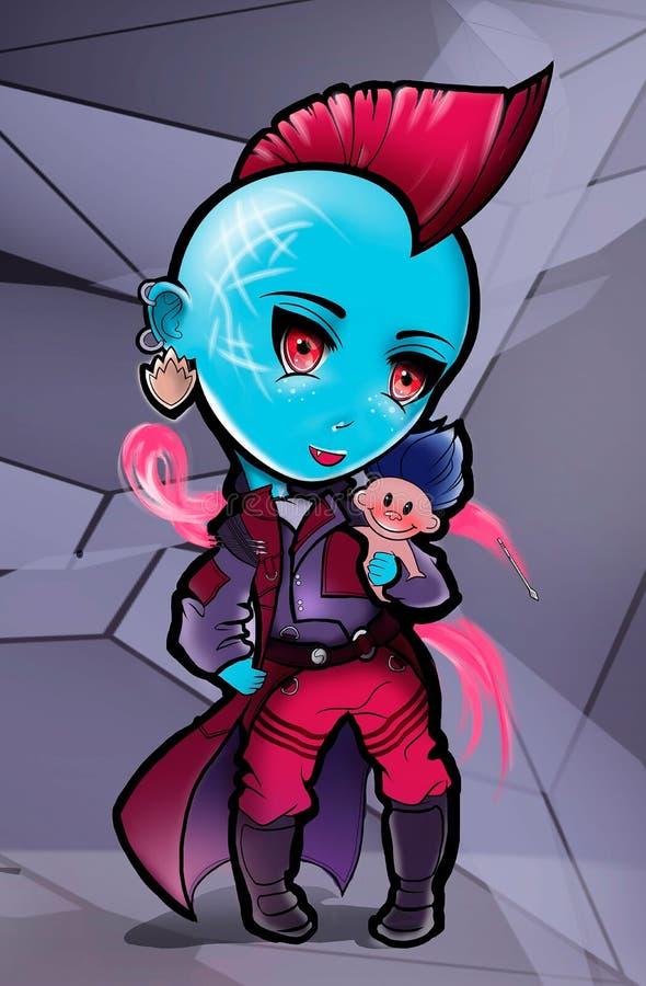 Illustration av en superheroflicka i en regnrock vektor illustrationer
