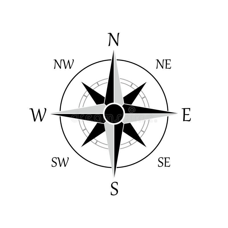 Illustration av en symbol för kompassrosvektor, eps 10 - vektor royaltyfri illustrationer