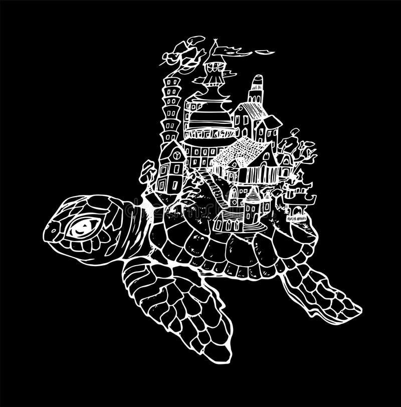 Illustration av en tortulla med en gammal stad Svartvit teckning Krita p? en blackboard stock illustrationer