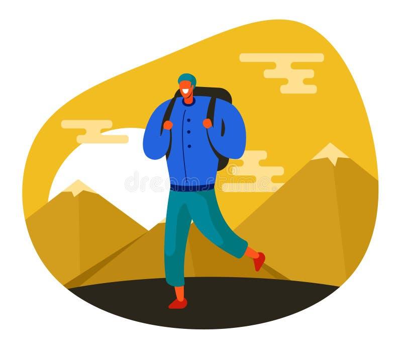 Illustration av en turist på en bakgrund av berg och solnedgången stock illustrationer