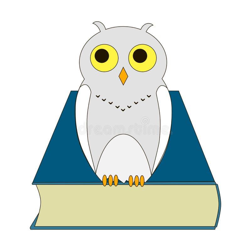 Illustration av en uggla med boken royaltyfri foto