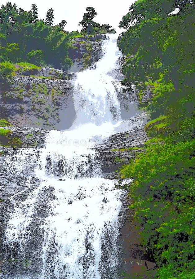 Illustration av en vattenfall som flödar från höjd under grön skog royaltyfri foto