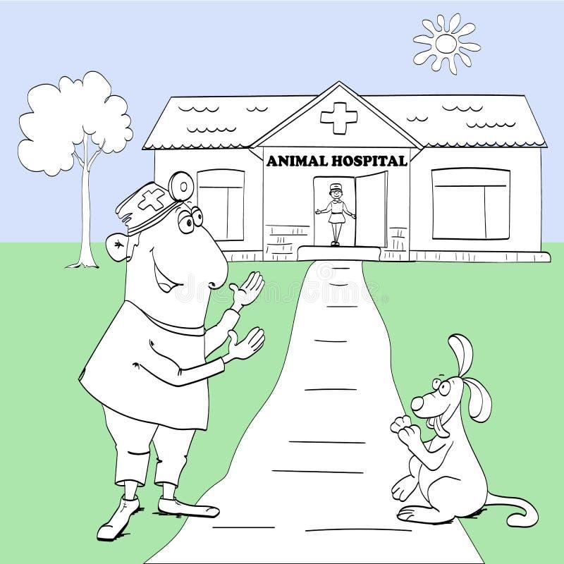 Illustration av en veterinär- klinik Manipulera med en hund på en färgrik bakgrund vektor illustrationer