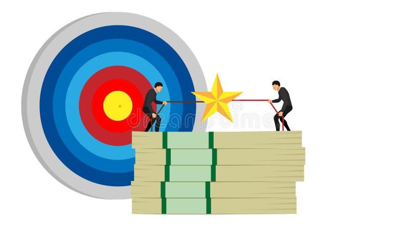 Illustration av entreprenörkonkurrens en konkurrens av två personer som slåss över stjärnor på en hög av pengar mot ett mål stock illustrationer