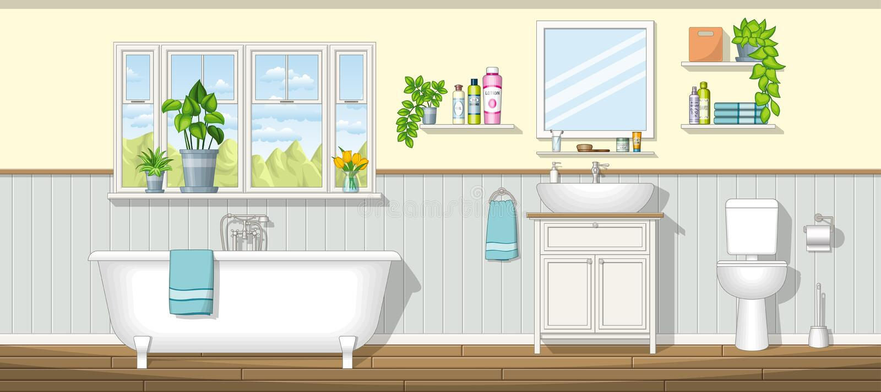 Illustration av ett badrum stock illustrationer