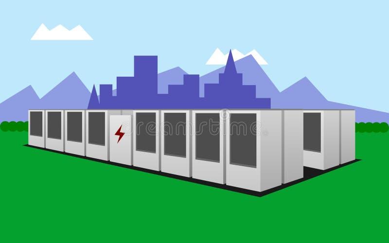 Illustration av ett batterilagringssystem som lagrar ren elektricitet stock illustrationer