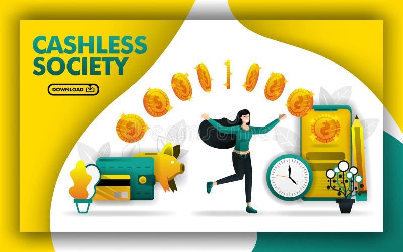 Illustration av ett cashless samhälle kvinnan flyttar pengar från hennes plånbok, spargris och kort till smartphonen kan använda  royaltyfri illustrationer