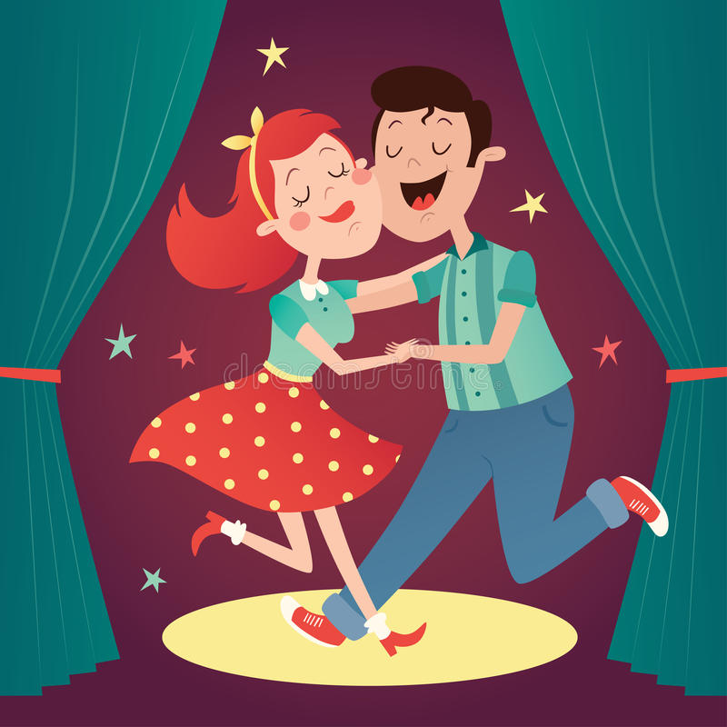 Illustration av ett danspar stock illustrationer