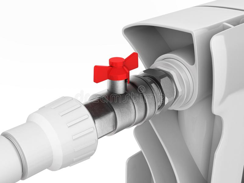 Illustration av ett element med en bollventil på vit bakgrund 3d royaltyfri illustrationer