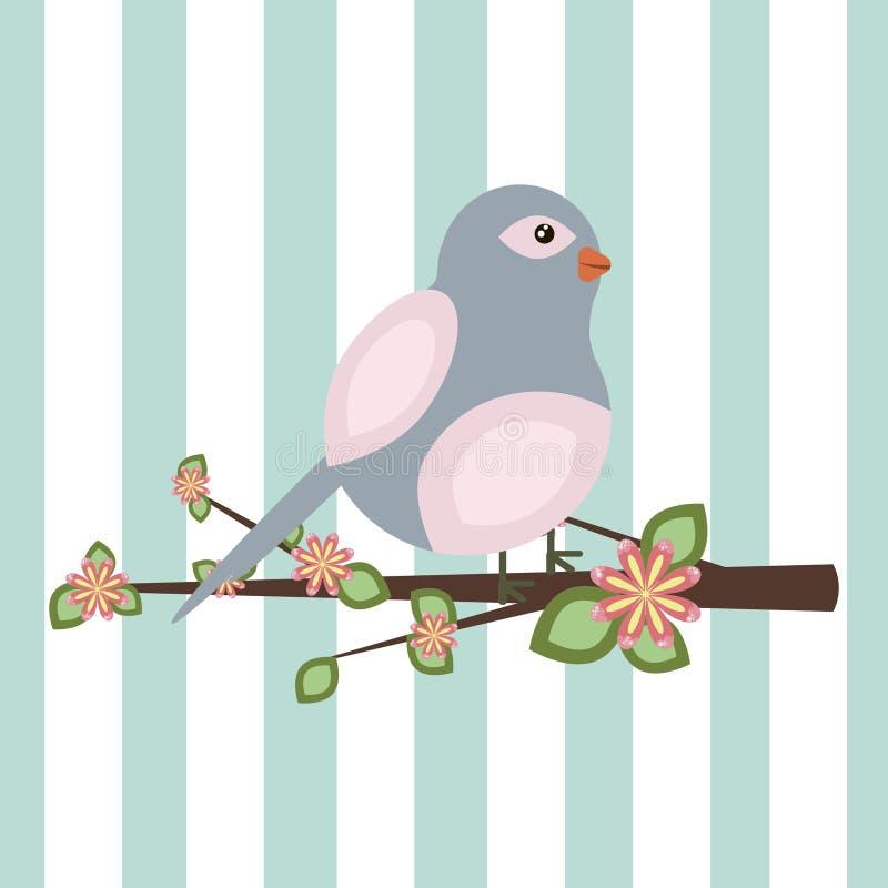 Illustration av ett fågelsammanträde på en filial stock illustrationer