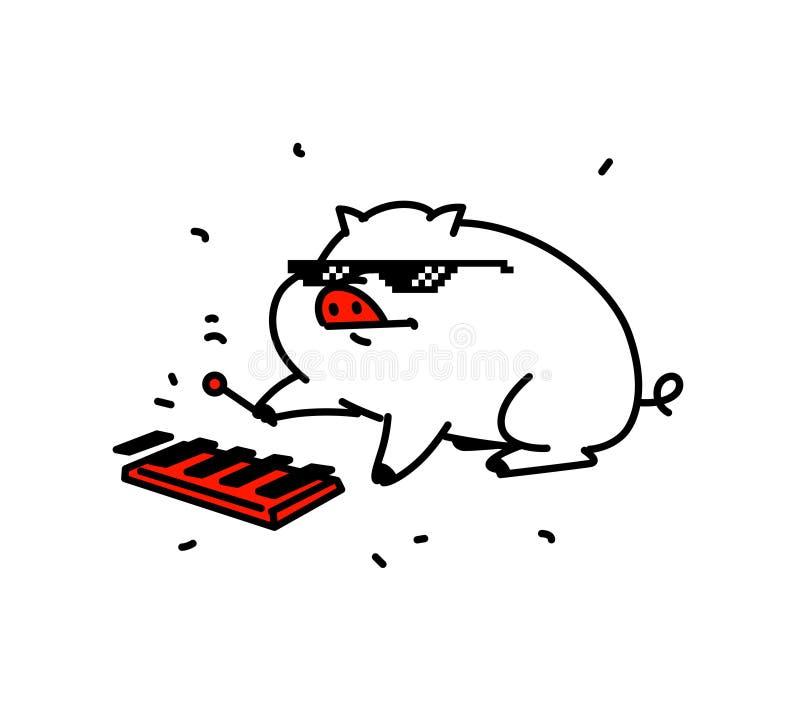 Illustration av ett fett gulligt svin i PIXELexponeringsglas vektor Plan stil Svinmusiker som spelar på melophonen Tecken för mus vektor illustrationer