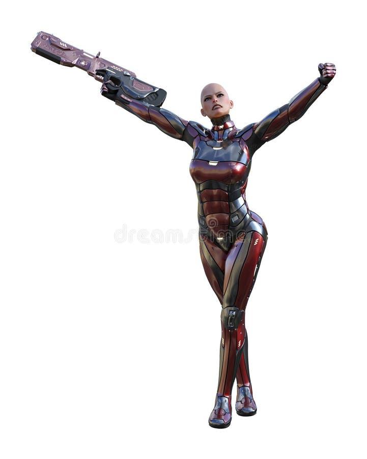 Illustration av ett futuristiskt skalligt för kroppharnesk för kvinnlig soldat oavkortat anseende med ett vapen vektor illustrationer