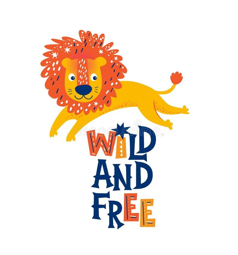 Illustration av ett gulligt lejon i tecknad filmstil vektor illustrationer