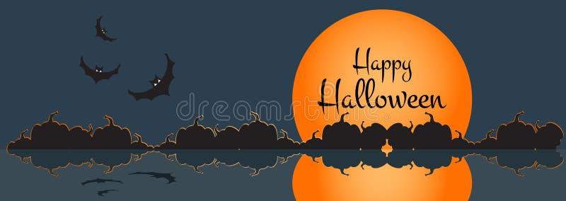 Illustration av ett lyckligt halloween baner med halloween stadsplats också vektor för coreldrawillustration stock illustrationer