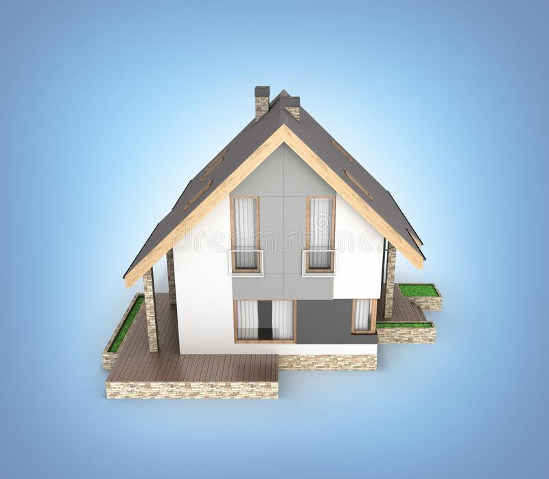Illustration av ett modernt hus med ett garage som isoleras på blå lutningbakgrund 3d för att framföra vektor illustrationer