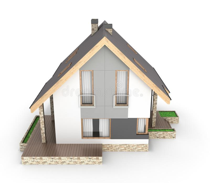 Illustration av ett modernt hus med ett garage som isoleras på vit bakgrund 3d för att framföra royaltyfri illustrationer