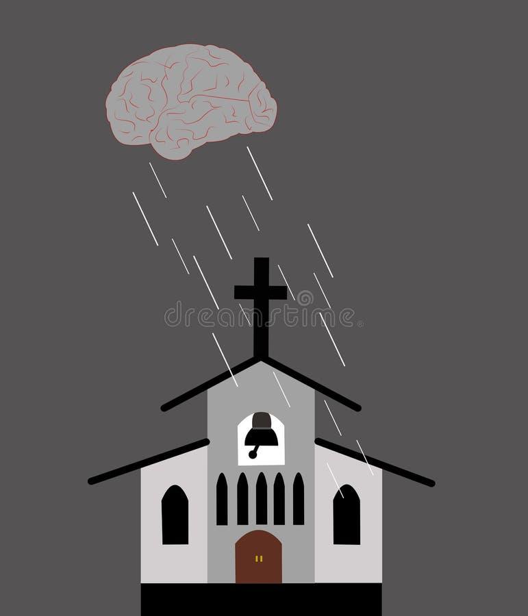 Illustration av ett moln som en hj?rna som regnar med anledning ?ver kyrkan royaltyfri illustrationer