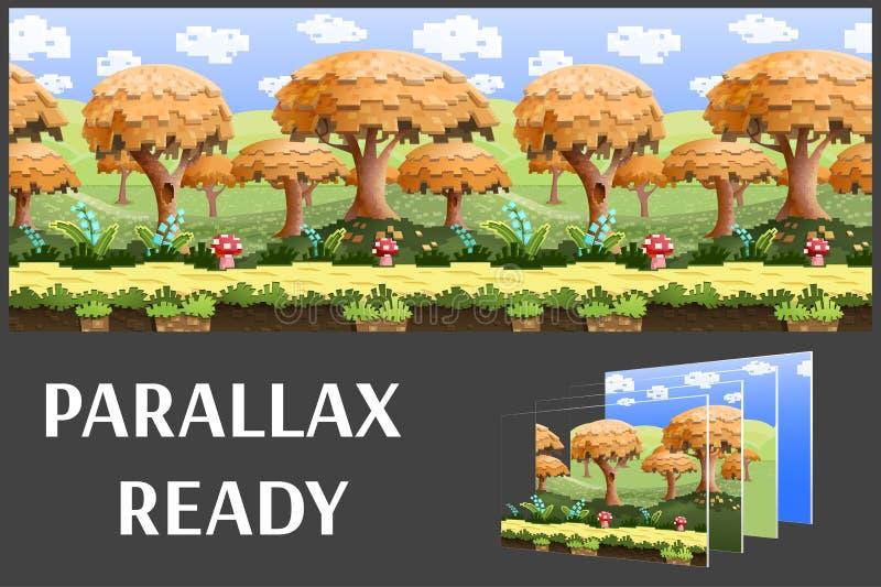 Illustration av ett naturlandskap, med PIXELträd och gröna kullar, oupphörlig bakgrund för vektor med avskilda lager royaltyfri illustrationer