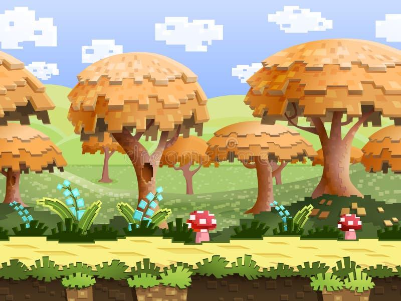 Illustration av ett naturlandskap, med PIXELträd och gröna kullar, oupphörlig bakgrund för vektor med avskilda lager royaltyfri foto