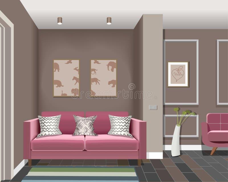 Illustration av ett rum med dörrar, en burgundy stol, burgundy soffa, vas, bild Inre av rummet med möblemang vektor illustrationer