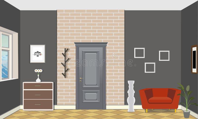 Illustration av ett rum med dörrar, en röd stol, vasen, bilden och byrån Inre av rummet med möblemang vektor illustrationer